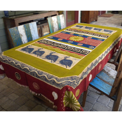 Hand Painted Table Cloth 92 inches by 56 inches Handmade and Fair Trade