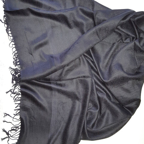 Pashmina Shawl With Metallic Paisley Flower - Color Black