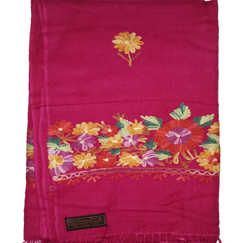 Handmade Pashmina Shawl With Beautiful Embroidered Colorful Flower-Color Pink