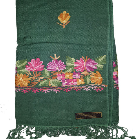 Handmade Pashmina Shawl With Beautiful Embroidered Colorful Flower-Color Green