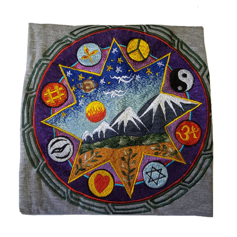 Hand Embroidered Universe Religion Symbol T-Shirt