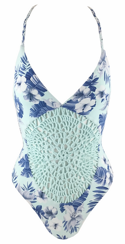 Frankie's Bikinis Poppy One Piece in Blue Dahlia