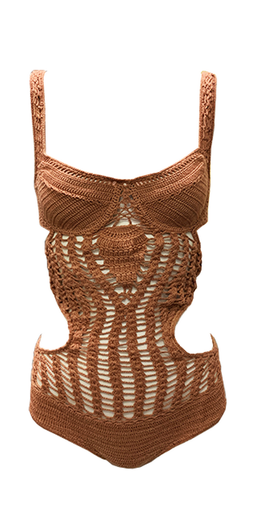 Indah Fonda Crochet One Piece in Dusty Rose - Lido West