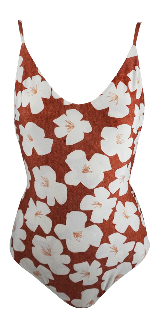 Stone Fox Swim Hermosa One Piece in Sand Dollar Hibiscus - Lido West