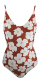 Stone Fox Swim Hermosa One Piece in Sand Dollar Hibiscus