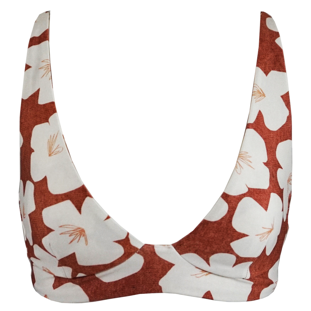 Stone Fox Swim Ziggy Top in Sand Dollar Hibiscus - Lido West