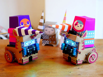 Robot unicorns jousting with paper craft knights