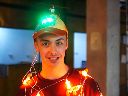 Wearable Robotic Propeller Hat with Programmable Lights