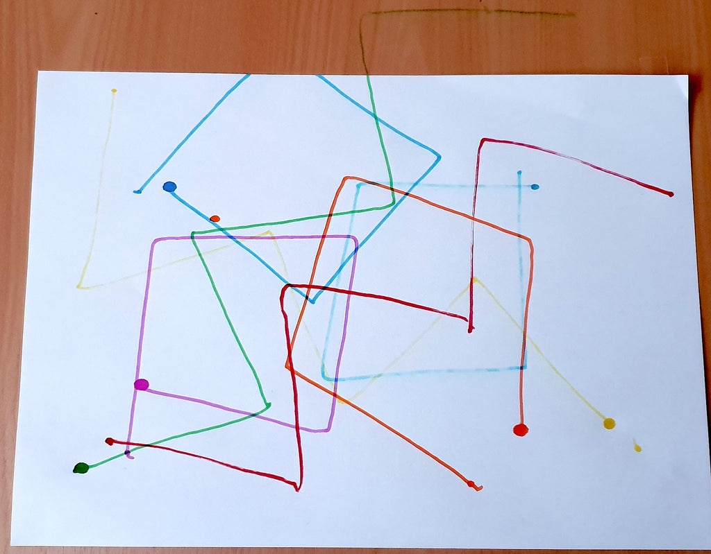 Image of a white paper with several scribbles on it in different colours