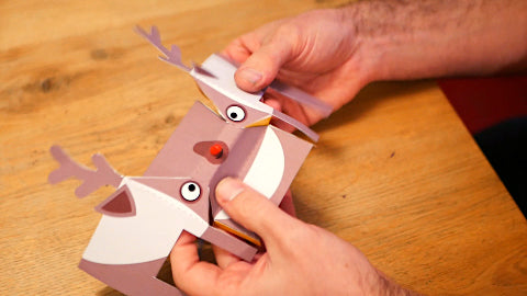 Image of a paper reindeer being folded