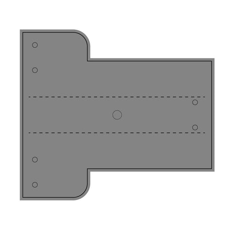 Drawing of grey rectangular part to be cut out