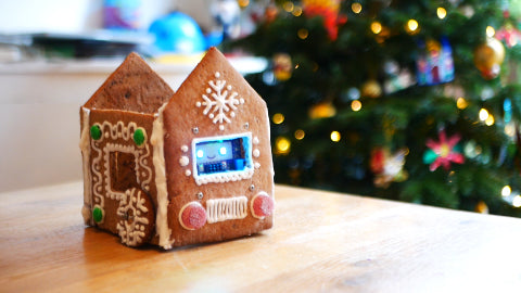 Image of a decorated gingerbread house, with a purple circuit board inside with blue light-up eyes.