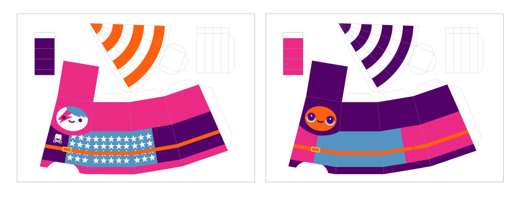 Picture of two paper templates to cut out and fold cute brightly coloured knights