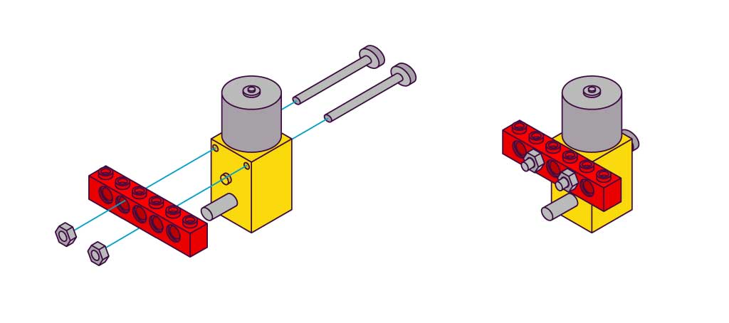 Illustration of a Smartibot Motor attaching to a LEGO Technic piece with nuts and bolts