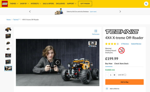 Screen shot of LEGO website showing listing for £200 app controlled off-road car