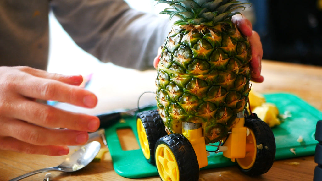 Pineapple robot standing on its wheels with top section in place