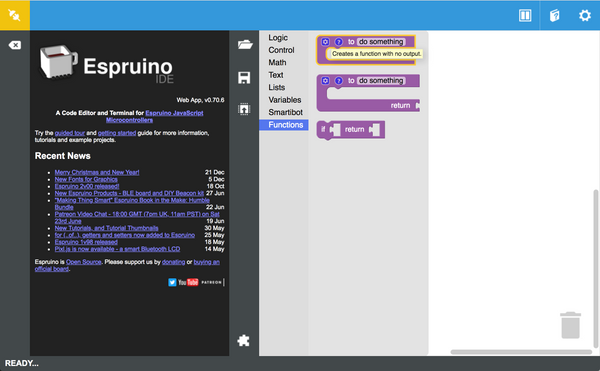 Espruino IDE showing the 'to do something' block being picked in the blocks editor