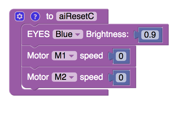 'aiReset' function block with blocks inside to set eye colour to blue and set M1 and M2 speed to 0