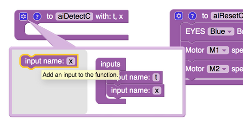 Adding inputs to the 'aiDetect' block