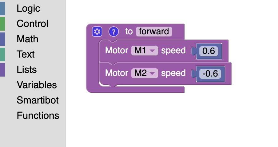 Image of block code on the Espruino platform, with a block code defining the forward direction by manipulating the speed of two motors.
