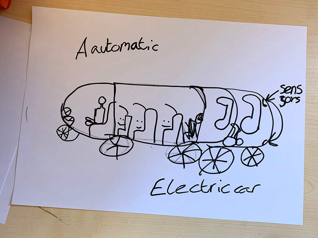 Child's drawing of an 'Automatic Electric Car' featuring seats for four people, lots of luggage space and 'sensors'