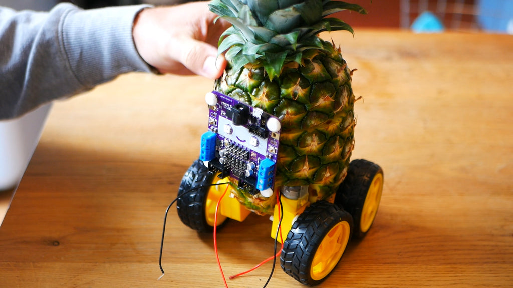 Pineapple robot with square, purple, smiley faced, Smartibot circuit board attached to the front with a nail in each corner