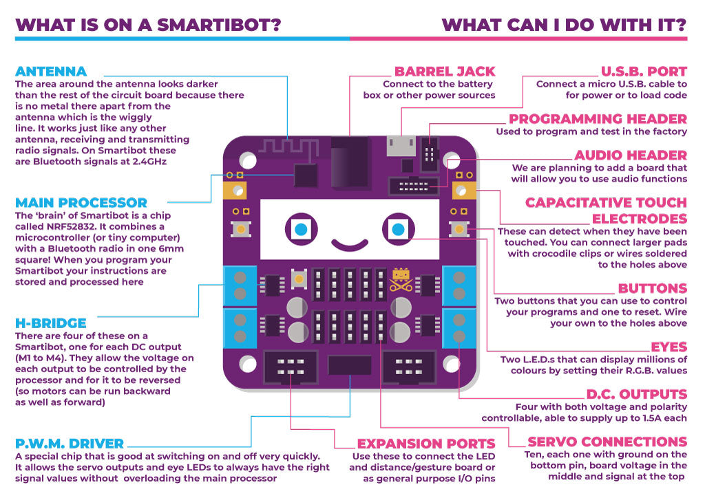 Infographic explaining Smartibot board components and features. PDF available at link