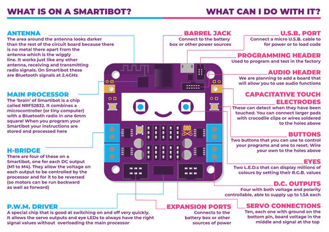 Infographic describing the components on a Smartobot circuit board and their function