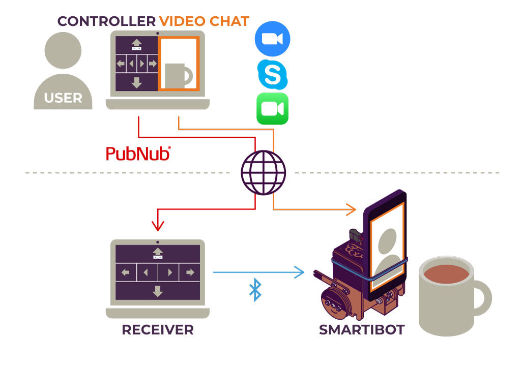 Diagram showing the elements of the Smartibot telepresence set-up described below