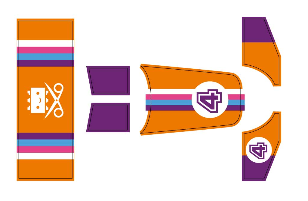 Drawing of orange and purple front and rear wing parts and nose livery with number 4