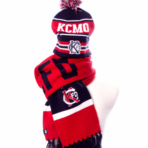 KCFD Pom Stocking Cap -Navy/Red