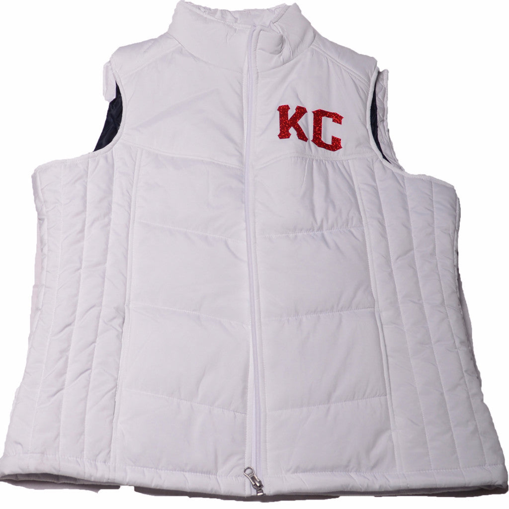 White and Red KC Glitter Vest
