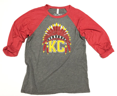 Kansas City Headdress 3/4 Sleeve T-shirt