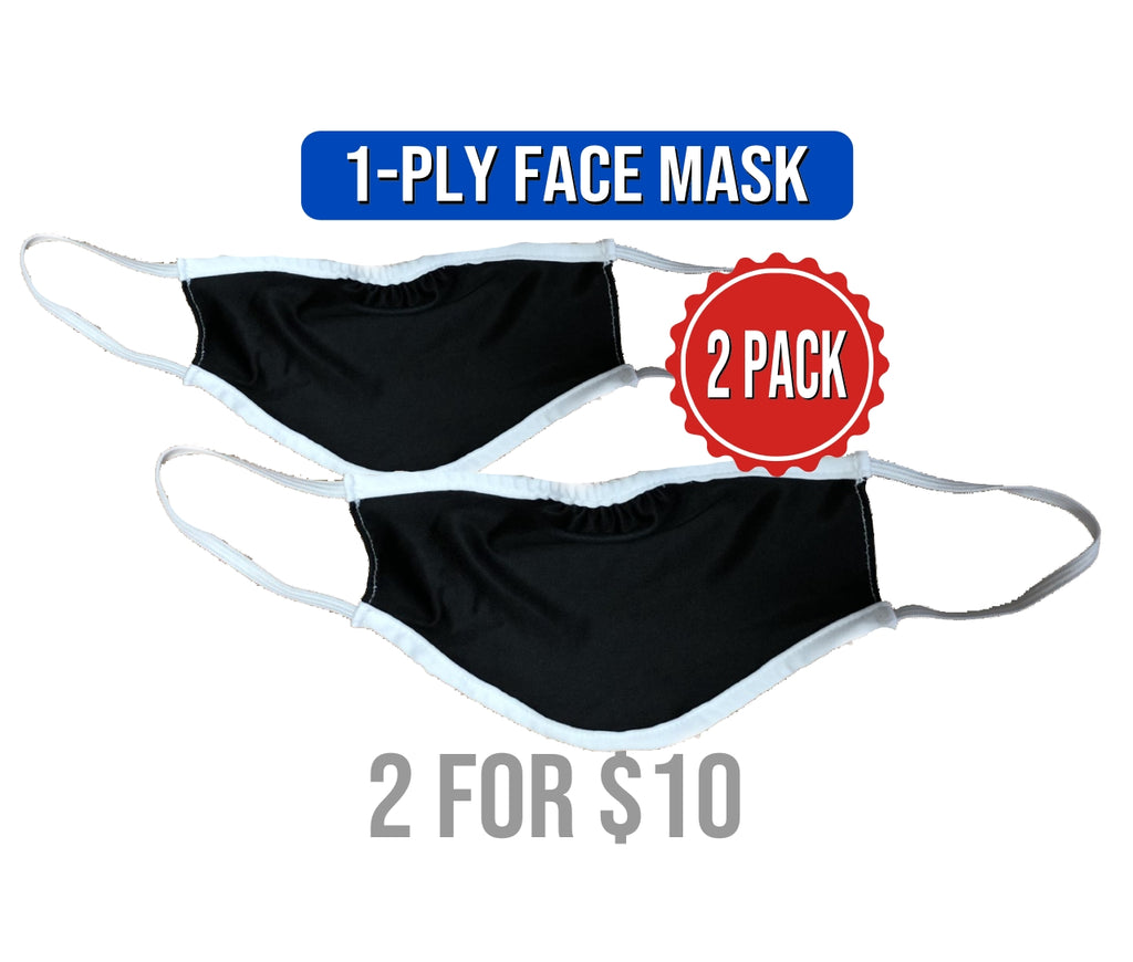 FACE MASK - 1-PLY BLACK **2 PACK**