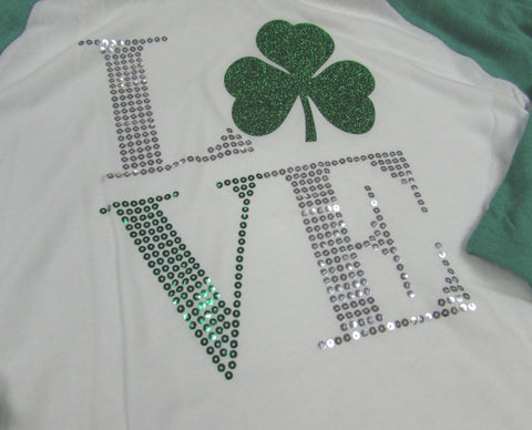 Irish LOVE 3/4 sleeve - Glitter