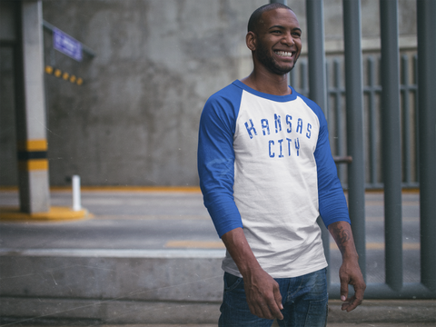 KANSAS CITY 3/4 SLEEVE TEE - BLUE