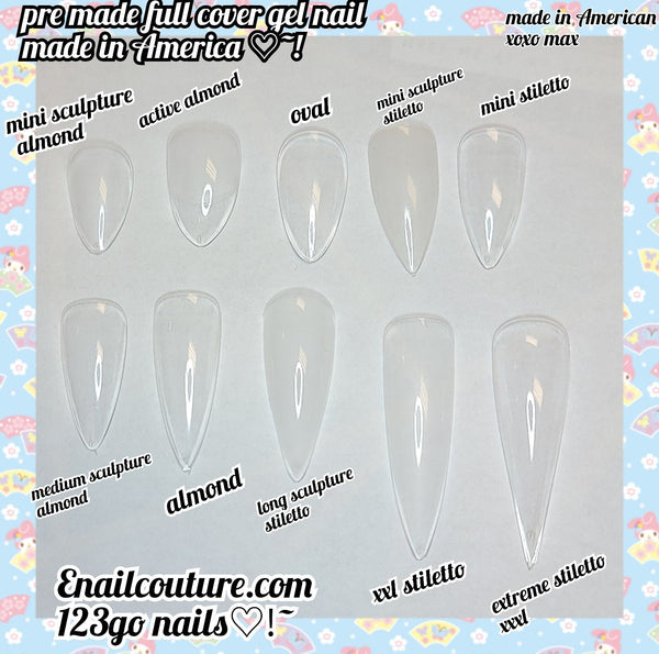 123 Go! Nails (pre made full coverage gel nail tips) (Full Cover False Nail Artificial Gel Nails Tip, False Nails)