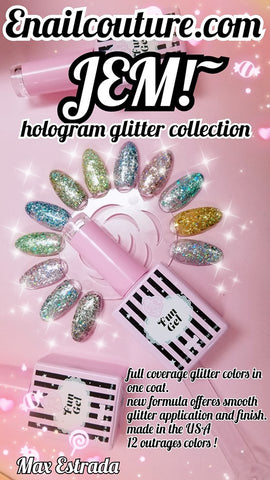 JEM!~ hologram glitter colors, Fun gel. (one coat coverage and smooth finish)