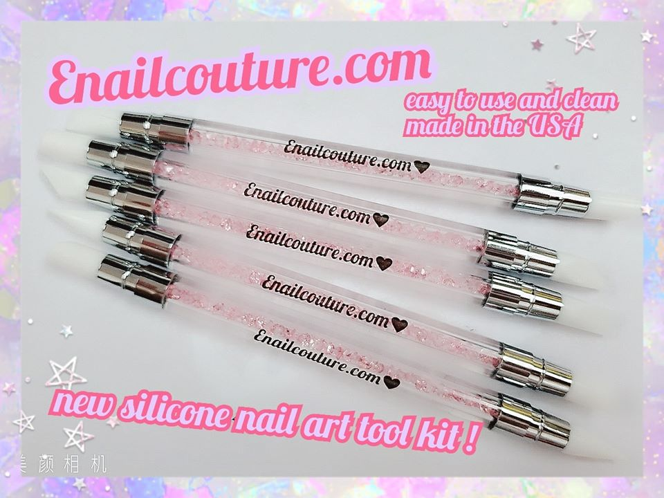 silicone brush set (5Pcs Nail Art Sculpture Pen Dual Tipped Silicone Rhinestone Nail Polish Carving Pen)