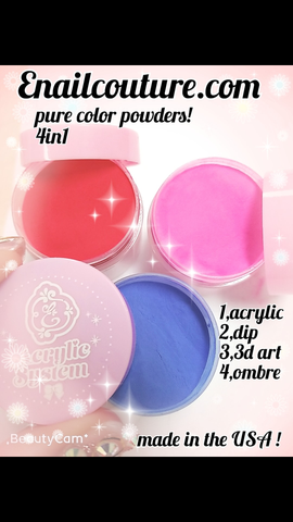 Pure color Powders~! 4in1 powder for acrylic, dip, 3d art design &ombre !