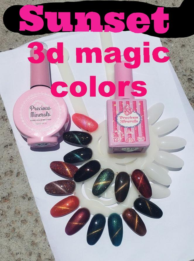 Sunset !~ , Precious Minerals limited edition 3d magic color (Cat Eye Nail Gel Polish Chameleon UV LED Shining )