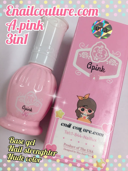 A.Pink - 3in1 Gel (apink base coat, color, natural nail strengthener gel. Gel Nail Strengthener Reinforce Polish, Nail Strengthening Repair Polish for Treating Weak, Damaged Nails, Clear UV Led Soak Off Gel Lacquer Long Lasting Professional DIY Nail Art)