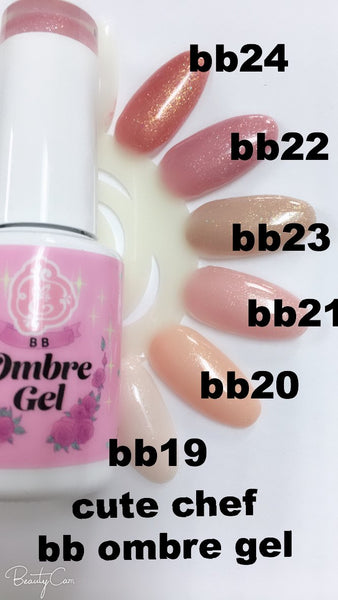 Cute Chef, sparkling nude gels!~ bb ombre