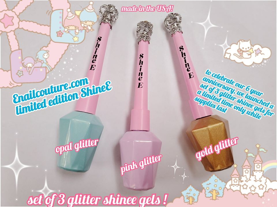 limited edition ShineE gel top coat, set of 3 glitter shinee gels (shiny gel top coat/sealer)