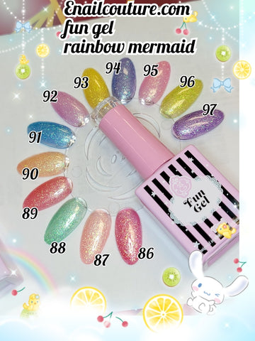 Rainbow Mermaid, FUN gel collection 2020  !~ ( Gel Nail Polish Set, Neon Glitter ombre, gradient Colors Soak Off UV LED,)