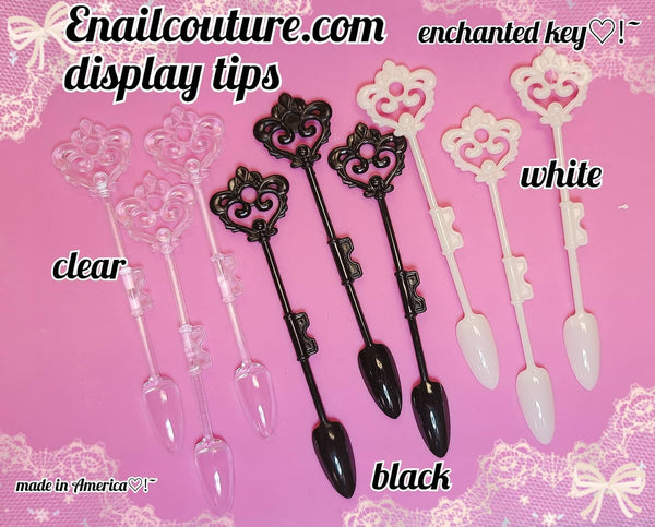 display tips, enchanted key ! (Nail Tips Sticks Nail Color Display Tips Transparent, white, black Nail Art Practice Sticks)