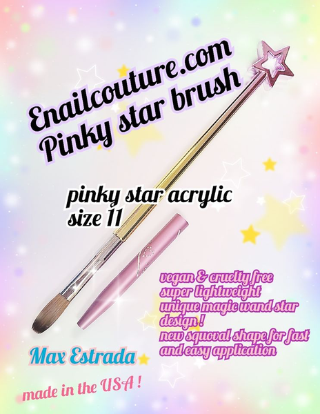 pink star Acrylic and Gel vegan Brush series !~ (cruelty free nail art, gel and acrylic brushes)