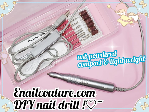 DIY Nail drill !~ ( Nail Drill Kit,USB Manicure Pen Sander Polisher With 6 Pieces Changeable Drills And Sand Bands for Exfoliating, Grinding, Polishing, Nail Removing, Acrylic Nail Tools )