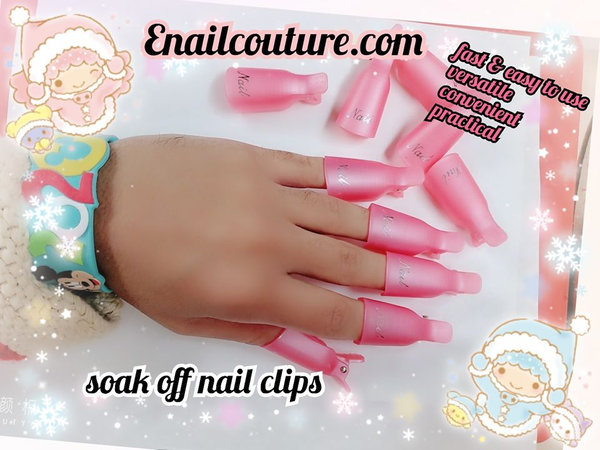 soak off nail clips (Gel Nail Polish Remover Wrap Clips Acrylic Nails Art Soak Off Clip UV Manicure Pedicure Nail Tool Pink Color)