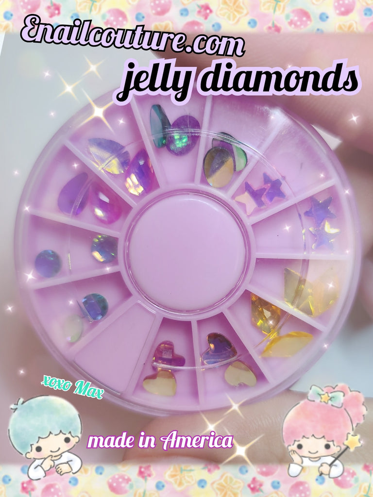 Jelly diamond carousel !~ mix shape (Crystal Rhinestones Set,Rhinestones Nail Art Set Nail Gems Iridescent Clear Class Multi-Shape Flat Back Shiny Nail Jewels for Nail Art DIY Crafts Phones Clothes Shoes Jewelry Bag)